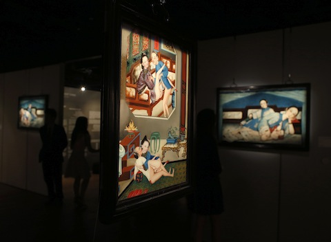 "Erotic paintings are displayed at the preview of an exhibition entitled ""Gardens of Pleasure: Sex in Ancient China"" in Hong Kong"